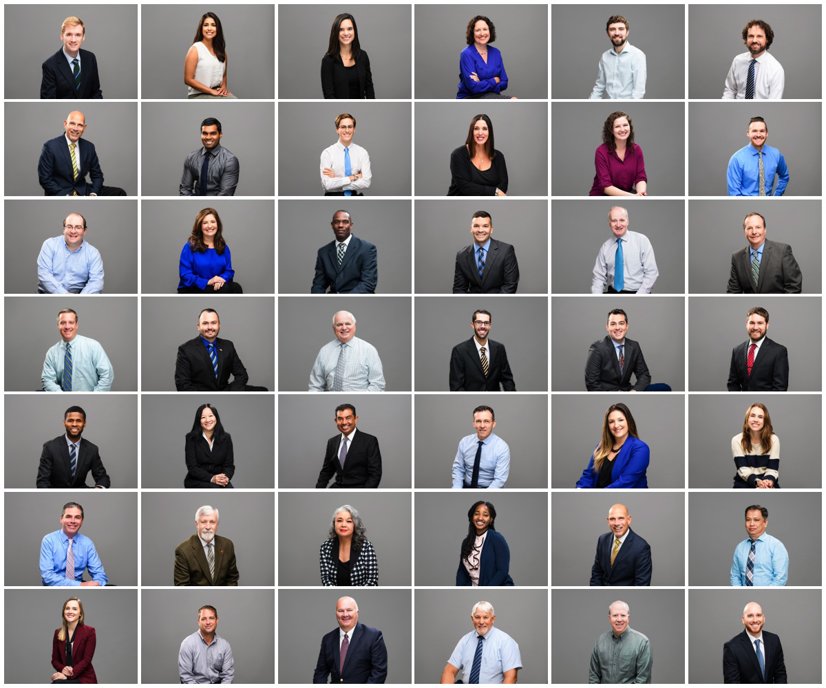 Team headshots for engineering firm on a grey background.